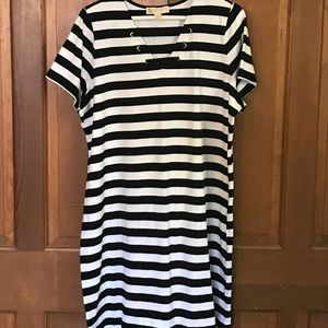 NWOT black and white striped dress